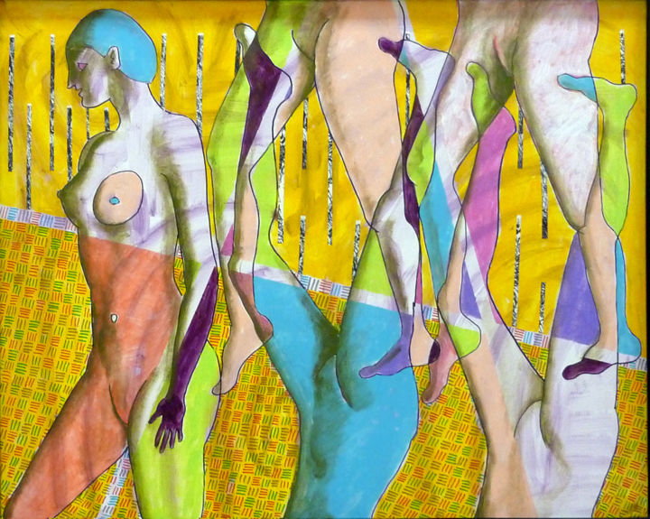 Sans titre n284 - Painting,  31.5x39.4x1.2 in, ©2009 by Victor Valente -                                                                                                                                                                          Expressionism, expressionism-591, Colors