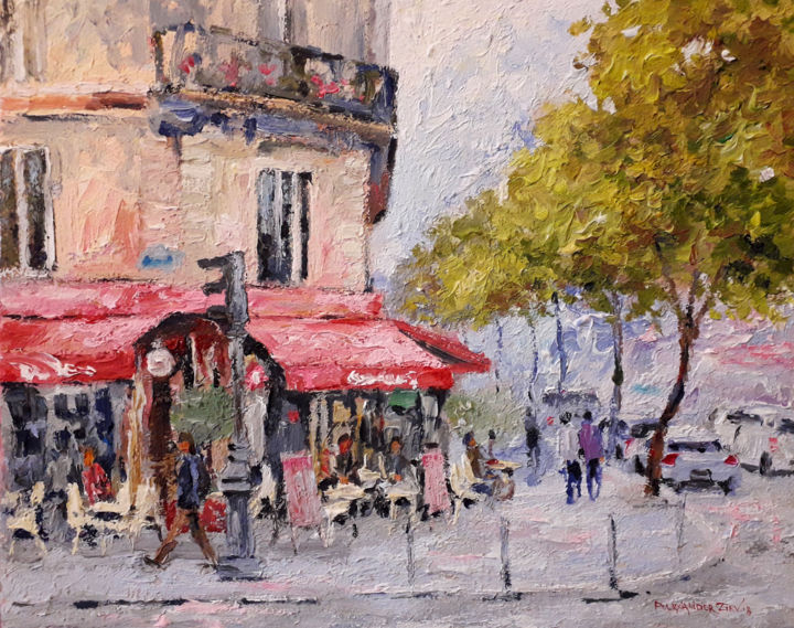 Paris street - Painting,  15.8x19.7x0.8 in, ©2018 by Alex Ziev -                                                                                                                                                                                                                                                                                                                                                                                                                                                                                                  Impressionism, impressionism-603, Cityscape, Painting on canvas, acrylic, picture as a gift, street of Paris, impressionism, modern painting, Alex Ziev