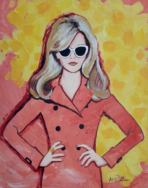Girl in pink coat - Painting,  19.7x15.8x0.1 in, ©2018 by Alex Ziev -                                                                                                                                                                                                                                                                                                                                                                                                                                                                                                                                                                                              Abstract, abstract-570, Pulpboard, Women, Fashion, Painting with acrylics, abstract painting, modern painting, design, interior decoration, girl, fashion