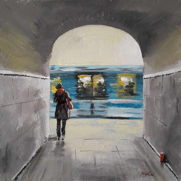 Subway train | Acrylic painting | Canvas art - Painting,  19.7x19.7x0.2 in, ©2019 by Alex Ziev -                                                                                                                                                                                                                                                                                                                                                                                                                                                                                                                                                                                                                                                                                  Impressionism, impressionism-603, Architecture, subway train, painting on canvas, canvas art, acrylic on canvas, acryl art, acryl painting, artwork, interior art, wall art, home decor, Paris painting