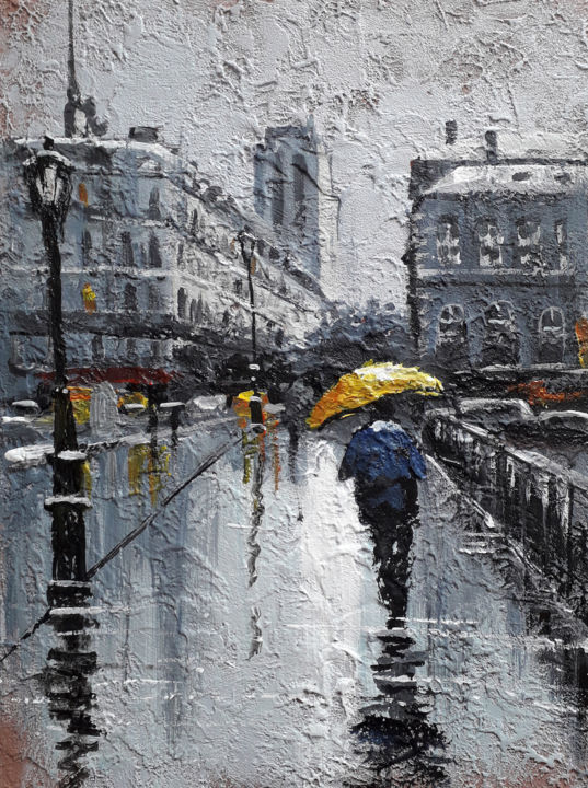 Raining day on the avenue | Acrylic painting - Painting,  19.7x15.8x0.2 in, ©2019 by Alex Ziev -                                                                                                                                                                                                                                                                                                                                                                                                                                                                                                                                                                                                                                                                                                                              Impressionism, impressionism-603, Architecture, Raining day on the avenue, painting on canvas, canvas art, acrylic on canvas, acryl art, acryl painting, artwork, interior art, wall art, home decor, Paris street, Paris painting