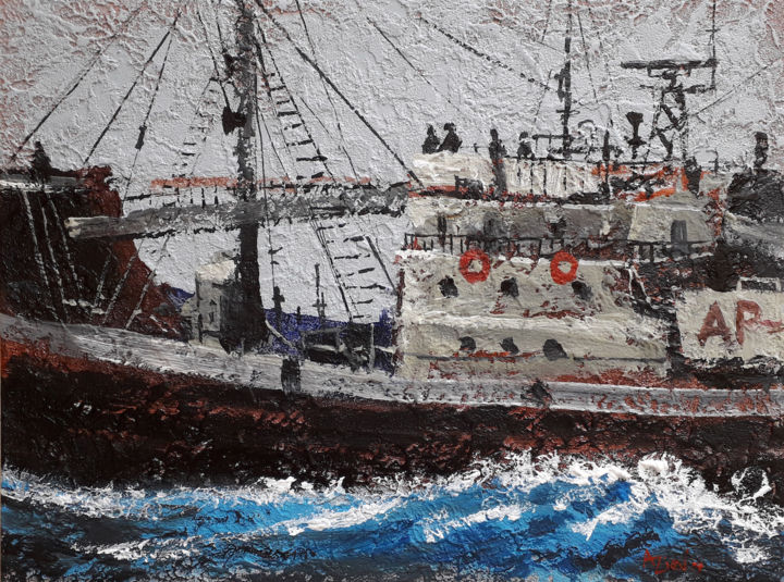 A ship at storm   Acrylic painting   Canvas art - Painting,  15.8x19.7x0.1 in, ©2019 by Alex Ziev -                                                                                                                                                                                                                                                                                                                                                                                                                                                                                                                                                                                                                                                                                                                                                                          Impressionism, impressionism-603, Ships, Seascape, A ship at storm, ocean, painting on canvas, canvas art, acrylic on canvas, acryl art, acryl painting, artwork, handmade painting, interior art, wall art, home decor