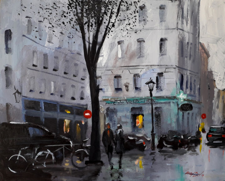 Rain in the city   Acrylic painting   Canvas art - Painting,  15.8x19.7x0.1 in, ©2019 by Alex Ziev -                                                                                                                                                                                                                                                                                                                                                                                                                                                                                                                                                                                                                                                                                                                                                                          Impressionism, impressionism-603, Architecture, Rain in the city, painting on canvas, canvas art, acrylic on canvas, acryl art, acryl painting, artwork, interior art, handmade painting, wall art, home decor, Paris painting, Paris street