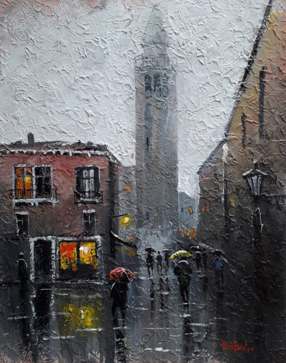 It's raining in the City | Venice painting - Painting,  19.7x15.8x0.1 in, ©2019 by Alex Ziev -                                                                                                                                                                                                                                                                                                                                                                                                                                                                                                                                                                                                                                                                                  Impressionism, impressionism-603, Architecture, Venice art, Venice painting, painting on canvas, canvas art, acrylic on canvas, acryl art, acryl painting, artwork, interior art, wall art, home decor