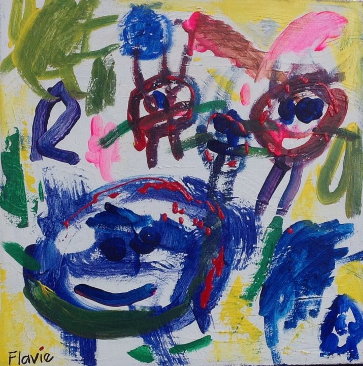"""""""Ma famille"""" - Peinture,  20x20 in, ©2014 par Viv -                                                                                                                                                                          Abstract, abstract-570, Famille"""