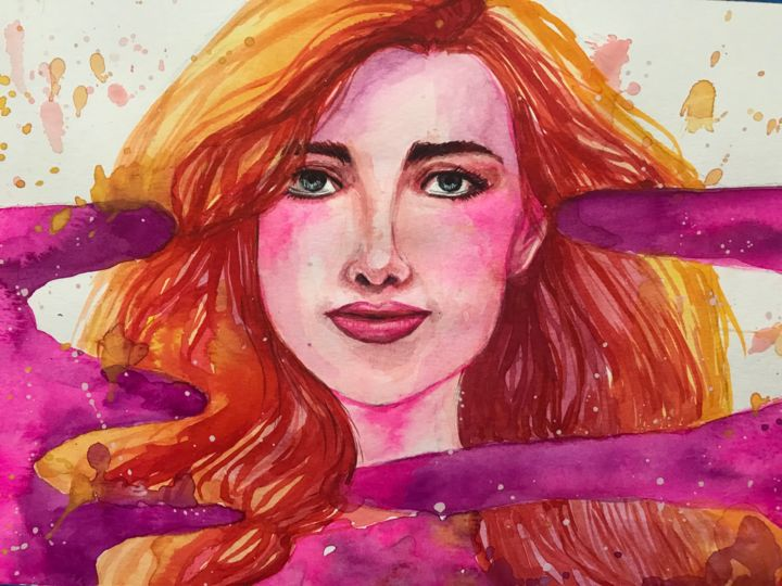 """Painting titled """"Pinky Woman"""" by Alice Lee, Original Art, Watercolor"""