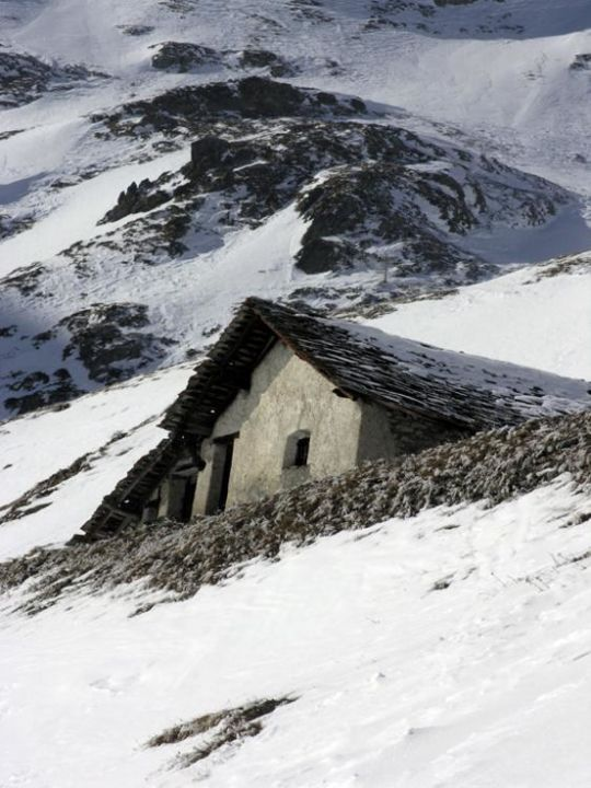 Alpine Hut - Photography,  12x9 in ©2005 by Vlad -            old rustic building house stone snow mountain slope aosta italy italia skiing refuge