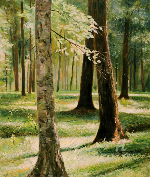 """Painting titled """"In Petershoff Park"""" by Vladimir Volosov, Original Art, Oil Mounted on Stretcher frame"""