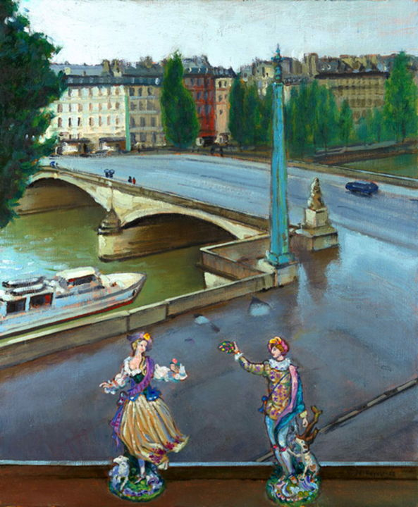 """Painting titled """"View from Louvre."""" by Vladimirs Ilibajevs, Original Art, Oil"""