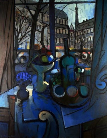 Still life of Paris with fruits. - Painting,  144x116 cm ©2001 by Vladimir Ilibaev -                            Cubism, Still life of Paris with fruits.