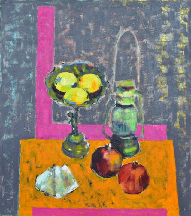 """Painting titled """"Still Life with Lem…"""" by Vlasta, Original Art, Oil Mounted on Stretcher frame"""