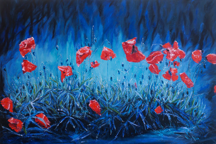 """Painting titled """"Red poppies on blue…"""" by Valeryia Panova, Original Art, Oil"""
