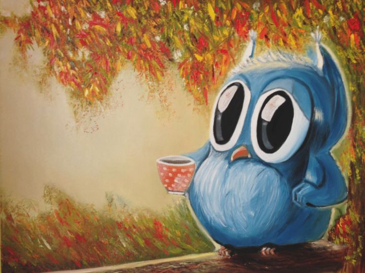 """Painting titled """"Owl in the forest w…"""" by Valeryia Panova, Original Art, Oil"""