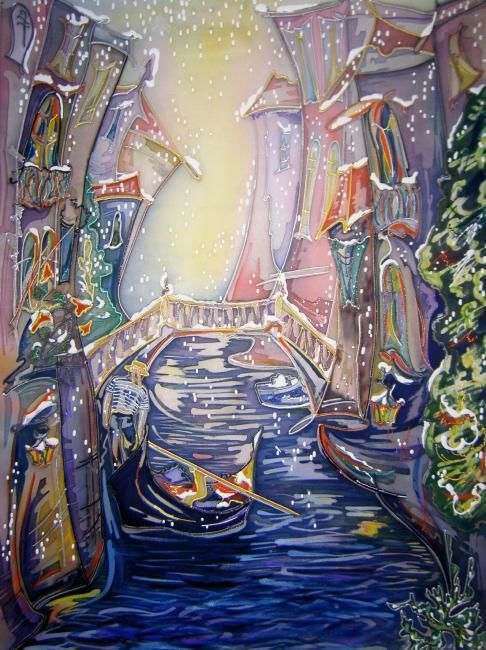 The snow in Venezia - Artcraft,  60x90 cm ©2008 by Natalia Volobueva -            The snow in Venezia