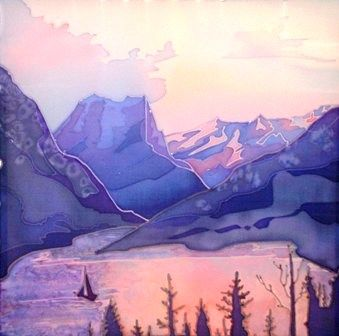 Altai - Artcraft,  50x50 cm ©2010 by Natalia Volobueva -            Altai mountains. The lake.