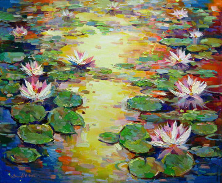 Evening pond with lilies - Painting,  19.7x23.6x0.8 in, ©2018 by Vladimir -                                                                                                                                                                                                                                                                                              Flower, Landscape, landscape, water lily, water, painting