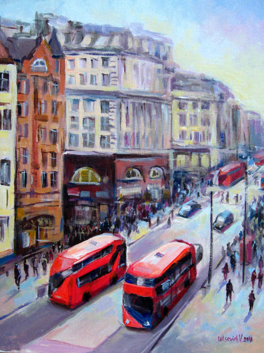 street of London - Painting,  40x30x1 cm ©2018 by Vladimir -                                                                        Contemporary painting, Fabric, Other, Cityscape, urban landscape, London, painting