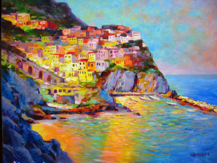 Cinque Terre - Painting,  19.7x23.6x0.8 in, ©2018 by Vladimir -                                                                                                                                                                                                                                                                                              Cityscape, Landscape, Water, oil painting, landscape, evening