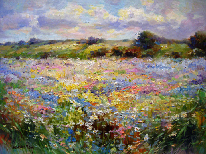 Flowering meadow - Painting,  30x40x2 cm ©2019 by Vladimir -                                                            Contemporary painting, Canvas, Landscape, Picture, modern painting, landscape, oil painting, flowers, decorative art