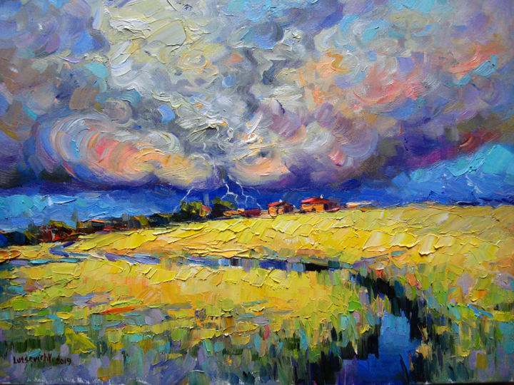 Landscape with thunderstorm - Painting,  30x40x2 cm ©2019 by Vladimir -                                                            Contemporary painting, Canvas, Landscape, picture, oil painting, landscape, field, sky and clouds, modern art, bright picture