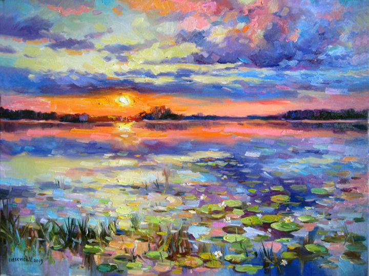 Evening lake with water lilies - Painting,  35x45x2 cm ©2019 by Vladimir -                                                        Contemporary painting, Landscape, Water, Oil painting, landscape, water lily, picture, water, evening landscape, bright picture, modern art