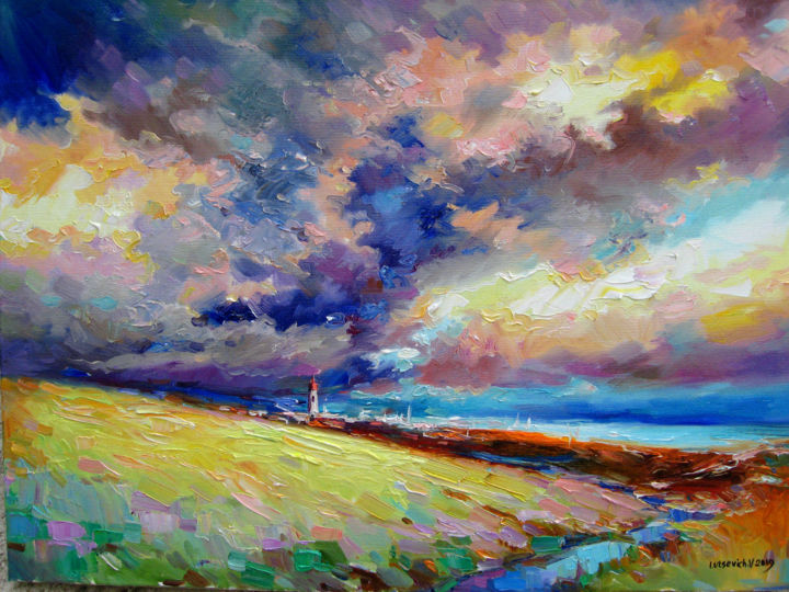 Landscape in Crimea. Storm is coming - © 2019 oil painting, landscape, picture, clouds, stormy sky, modern art, painting with palette knife, bright picture Online Artworks