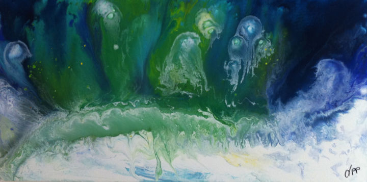 phyllum cnidaire- 50 x 100 cm - Painting,  50x100 cm ©2014 by véronique pascale Proust -                                                                        Abstract Art, Canvas, Abstract Art, Seascape, véronique pascale proust, peinture acrylique vert, peinture méduse, peinture phillum cnidaire, peinture fonds marins, peinture aquatique, toile grand format abstrait vert blanc