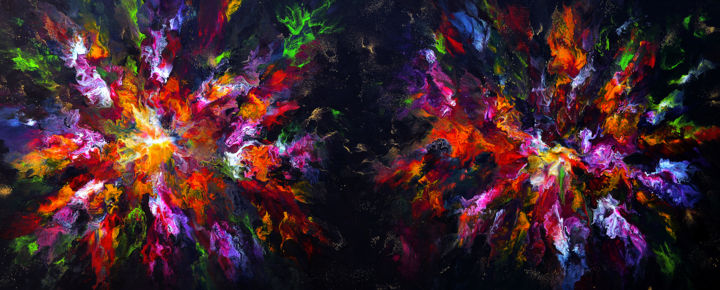Flying high- 60 x 160 cm - Painting,  60x160 cm ©2015 by véronique pascale Proust -                                                            Abstract Art, Canvas, Abstract Art, veronique pascale proust, peinture grand format, office decor, peinture originale, original art, peinture sur toile, toile multicolor, space art, peinture abstraite grand form, peinture XXL, stars painting, contempory art, arts & collections, toile originale grand format