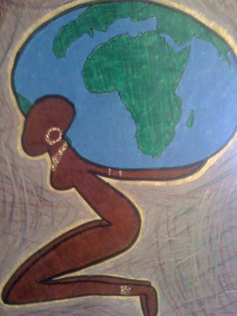 """Drawing titled """"carrying the world"""" by Victoria Rachal, Original Art, Other"""
