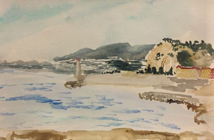 """Painting titled """"Cap of Nice"""" by Vstella, Original Art, Watercolor Mounted on Other rigid panel"""