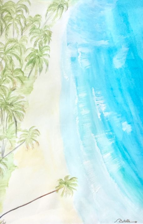 """Painting titled """"Pacific"""" by Vstella, Original Art, Watercolor Mounted on Stretcher frame"""