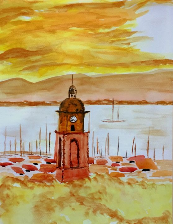 """Painting titled """"Sunset sur Saint Tr…"""" by Vstella, Original Art, Watercolor Mounted on Other rigid panel"""