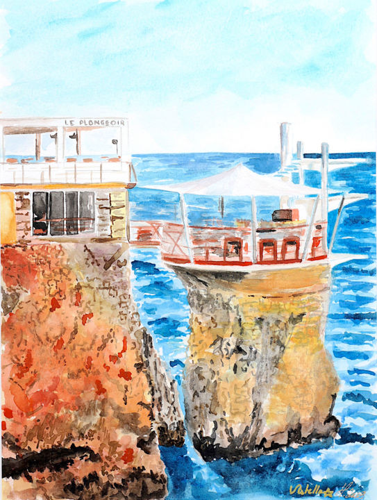 """Painting titled """"Matin au plongeoir"""" by Vstella, Original Art, Watercolor Mounted on Other rigid panel"""