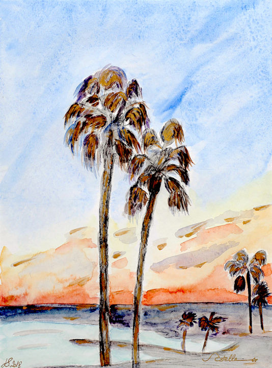"""Painting titled """"Riviera Sunset"""" by Vstella, Original Art, Watercolor Mounted on Other rigid panel"""