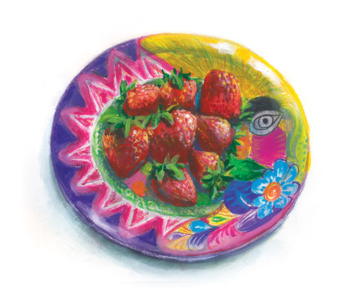 Strawberry - Painting,  9.8x11.4x0.4 in, ©2018 by Vladimir Tyuryaev -                                                                                                                                                                                                                                                                                                                                                                                                                                                                                                                                                                                          Figurative, figurative-594, Still life, strawberry, tropics, fruit, plate, mexico, talavera, ceramics, moon, sun