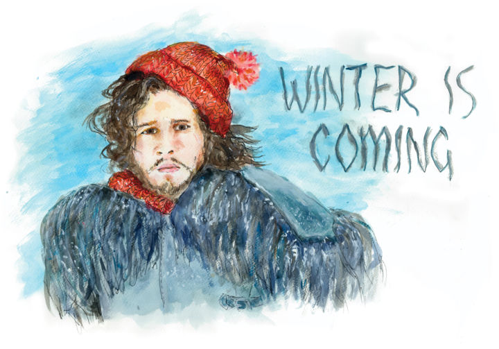 Winter is coming - Painting,  13x19.3x0.4 in, ©2018 by Vladimir Tyuryaev -                                                                                                                                                                                                                                                                                                                                                                                                                                                                                                                                                                                                                                                                                                                                                                                                                                                                  Figurative, figurative-594, Cinema, People, Pop Culture / celebrity, Portraits, Humor, john, snow, game, thrones, winter, close, hat, pompom, scarf, knitted, watercolor