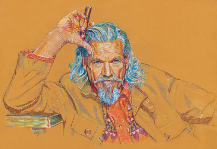 Jeff Bridges - © 2020 jeff, bridges, actor, dude, big, lebovsky, cigar, smoker Online Artworks