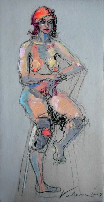 Christine 2 - Painting,  23.6x11.8 in, ©2009 by Raluca Vulcan -