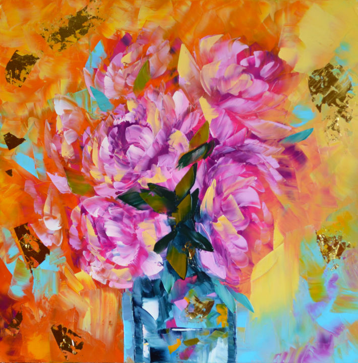 """Painting titled """"Pink peonies in a v…"""" by Elena Vybiranets, Original Art, Oil"""