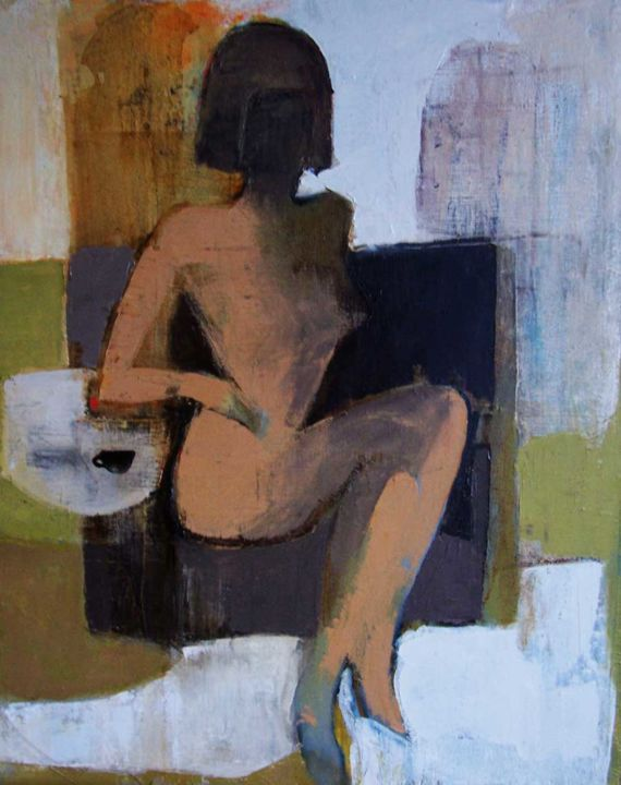 """Painting titled """"coffee2"""" by Victoria Cozmolici, Original Art, Oil"""