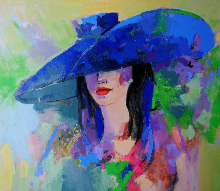 """Painting titled """"blue hat"""" by Victoria Cozmolici, Original Art, Oil"""