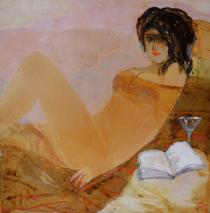 """Painting titled """"the book"""" by Victoria Cozmolici, Original Art, Oil"""