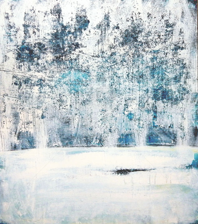 Winterwald - 120 x 100 cm - weiss blau - Painting,  47.2x39.4x1.6 in, ©2020 by Conny Wachsmann -                                                                                                                                                                                                                                                                                                                                                              Abstract, abstract-570, Abstract Art, blau, weiss, wachsmann, Acryl
