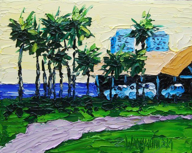 AFTERNOON IN JUNO BEACH - Painting,  8x10 in, ©2011 by Zbigniew Waksmundzki -                                                                                                                                                                          Figurative, figurative-594, AFTERNOON IN JUNO BEACH Original Oil Painting on canvas panel