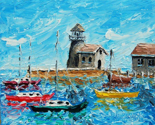 HARBOUR NR3 - Painting,  12x15 in, ©2011 by Zbigniew Waksmundzki -                                                                                                                                                                                                                                                                                                              Figurative, figurative-594, HARBOUR NR3 Original Oil Painting on stretched, gallery wrapped canvas, ready to hang, no framing needed