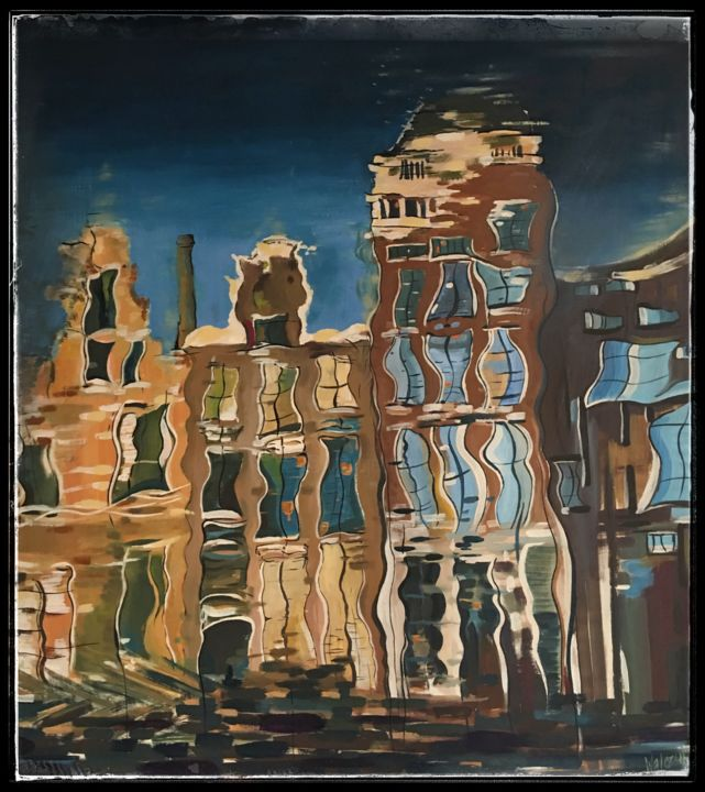 Amsterdam - Painting,  45.3x39.4 in, ©1998 by Marzena Walczuk -                                                                                                                                                                                                                                                                                                                                                                                                                                                                                                                                              Abstract, abstract-570, Abstract Art, Architecture, Cities, Cityscape, Places, acrylic, canvas, colorful, Amsterdam street