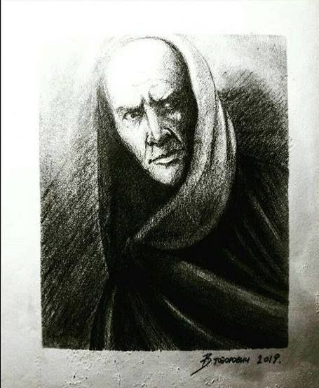 """Painting titled """"dr Faust"""" by Walentyn Todorovych, Original Art, Charcoal"""