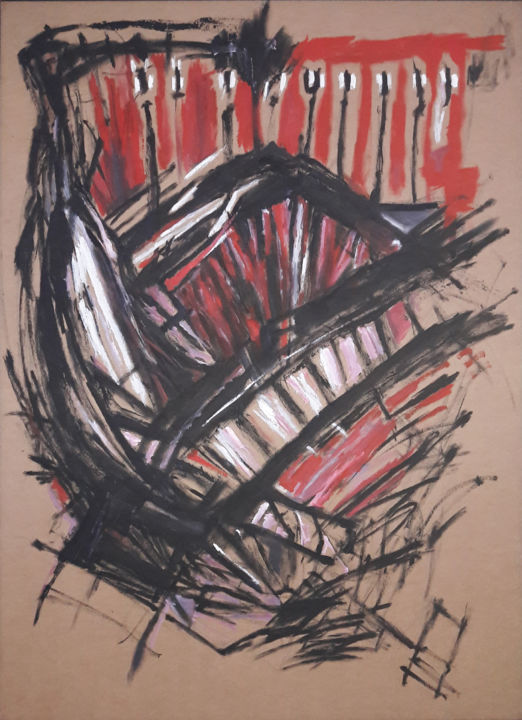 """Painting titled """"Untitled"""" by Walter Pimentel, Original Art, Oil Mounted on Wood Panel"""