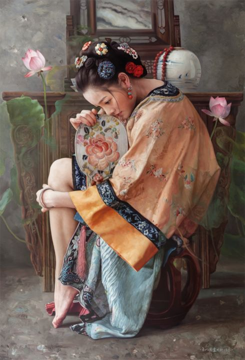 Searching A Dream  寻梦 - Painting,  29.5x20.1x3.9 in, ©2013 by Wang Ming Yue 王明月 -                                                                                                                                                                                                                                                                                                                                                          Classicism, classicism-933, Women, Culture, Spirituality, Portraits, Love / Romance