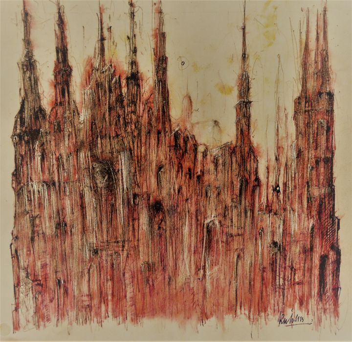 Sodom und Gomorrha (2) - Drawing ©2018 by Stephan Rodriguez Warnemünde -                                                                                                                                                                                    Expressionism, Paper, Architecture, Education, Dark-Fantasy, Spirituality, Culture, People, Places, Religion, Cityscape, Cities, Time, Bibel